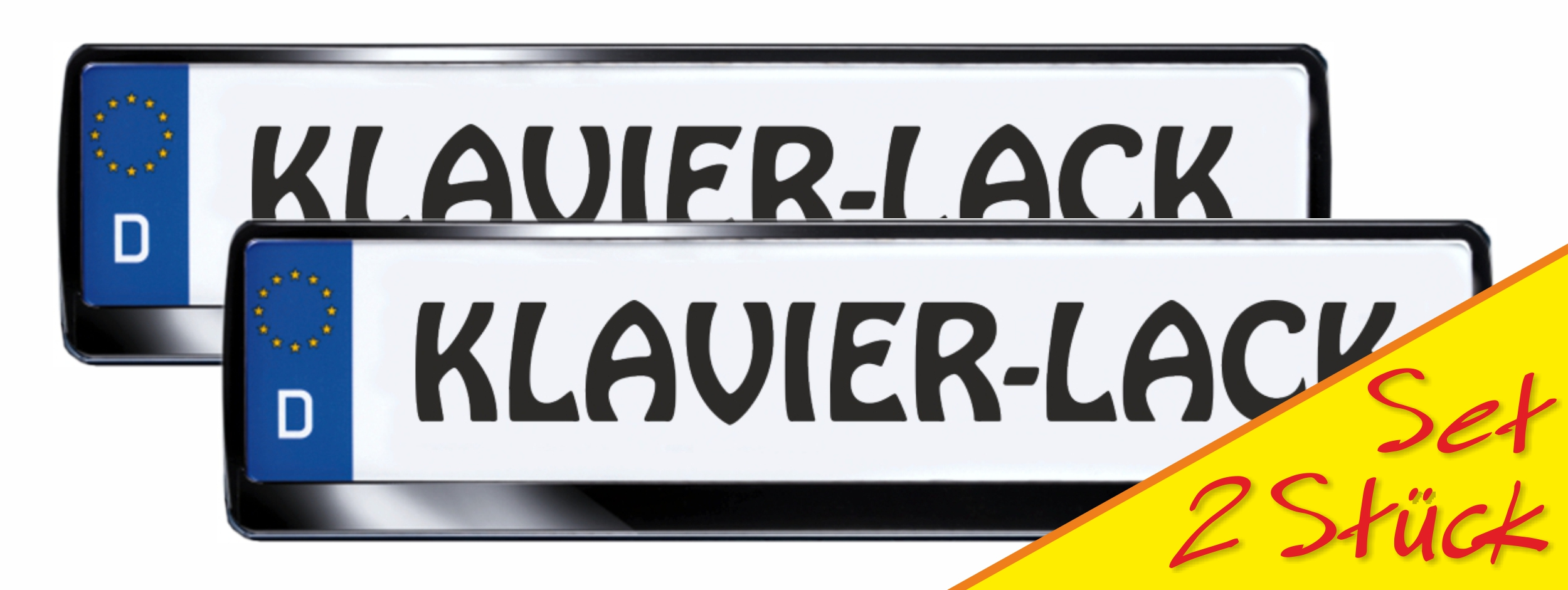 Number plate frame standard in noble piano finish black  2 pieces 10% discount – Bild 1