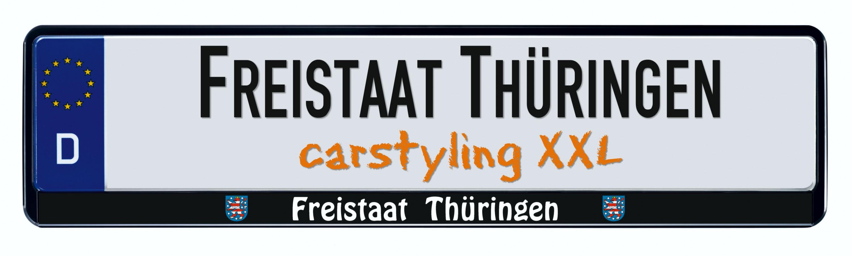 Cadre pour plaque d'immatriculation design état regional Freistaat Thüringen 2 pièces – Bild 1
