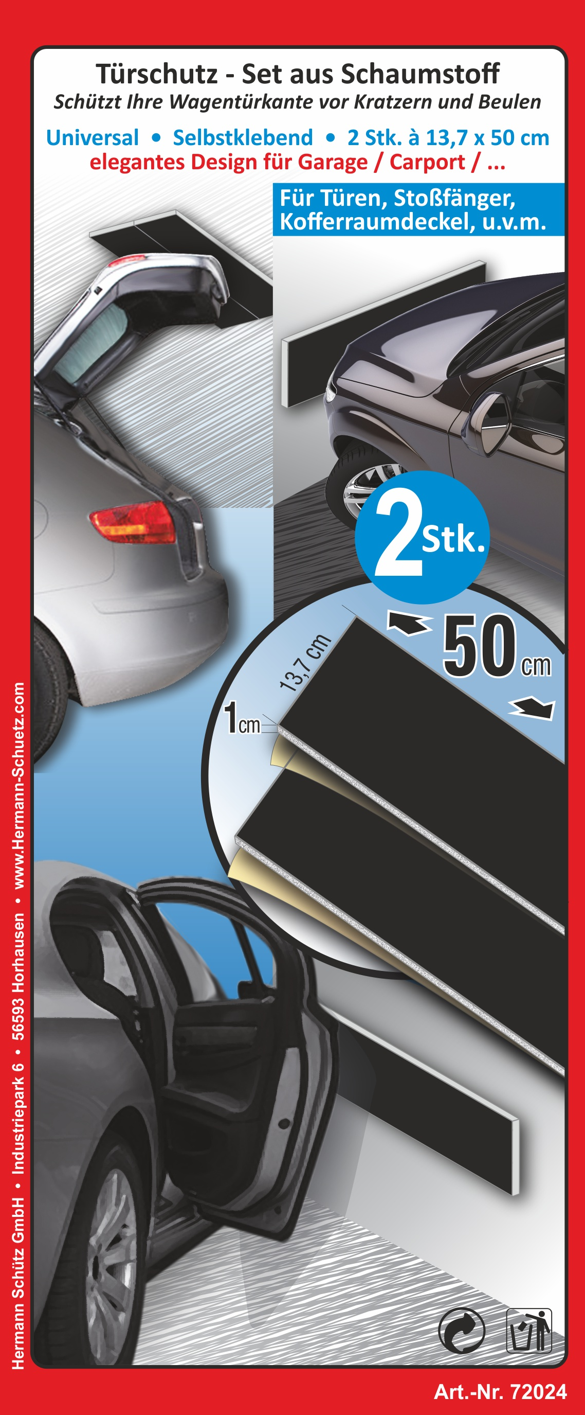 Door protection-set consisting of foam  selfsticking set consisting of 2 pieces each 40 x 14 x 1 cm – Bild 1