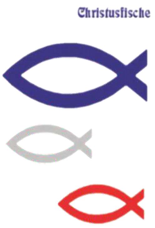 Aufkleber 3 Christusfische : Farbe blau 9,5 x 4 cm, Farbe silber 5,5 x 2,5 cm, Farbe rot 5,5 x 2,5 cm   – Bild 1