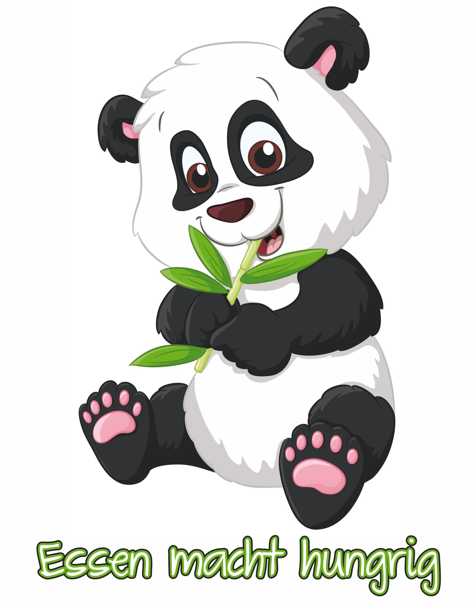 "Autocollant panda"" Essen macht hungrig"" 150 x 115 mm"