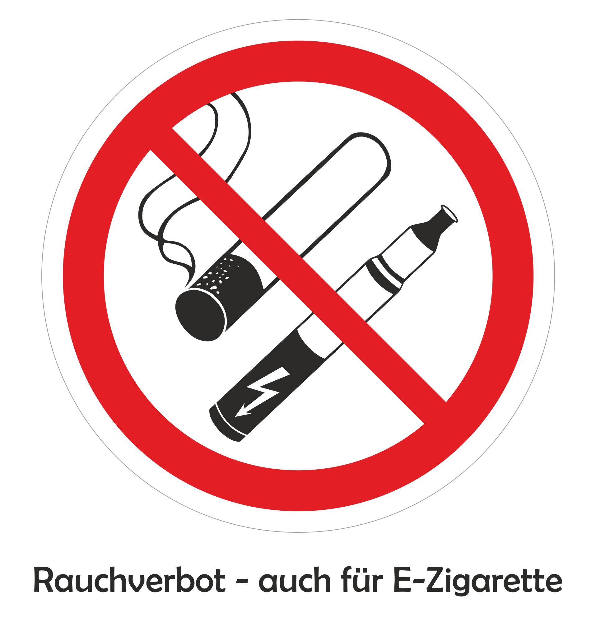 Aufkleber Rauchverbote - auch für E-Zigarette 90 x 70 mm  – Bild 1