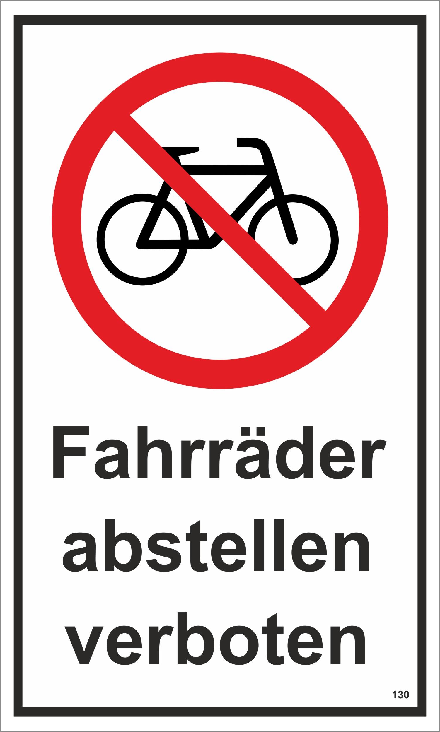 Fahrräder abstellen verboten 250 x 150 mm Warn- Hinweis- und Verbotsschild PST-Kunststoff  – Bild 1