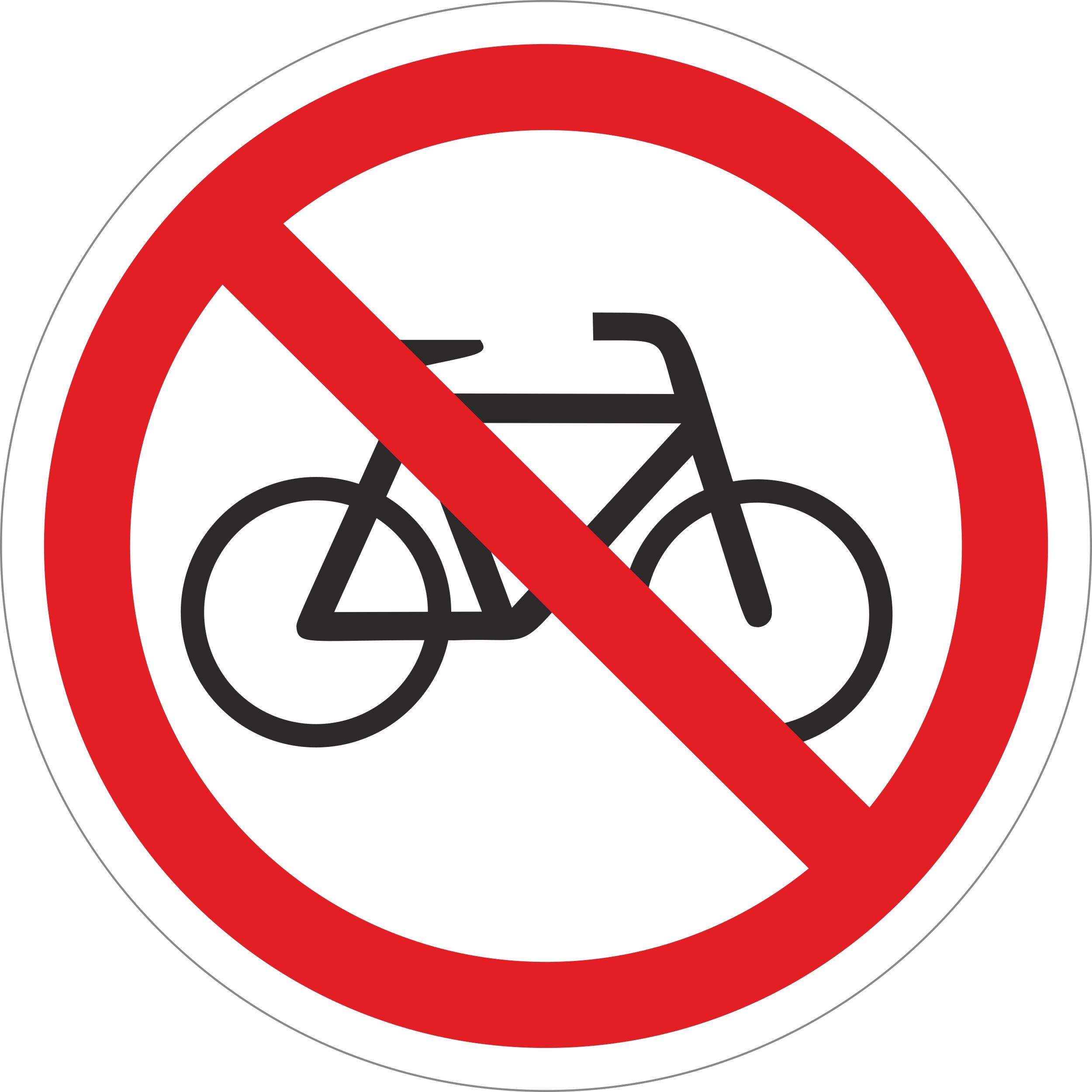 Fahrräder verboten Ø 100 mm Warn- Hinweis- und Verbotsschild Hart-PVC, selbstklebend  – Bild 1