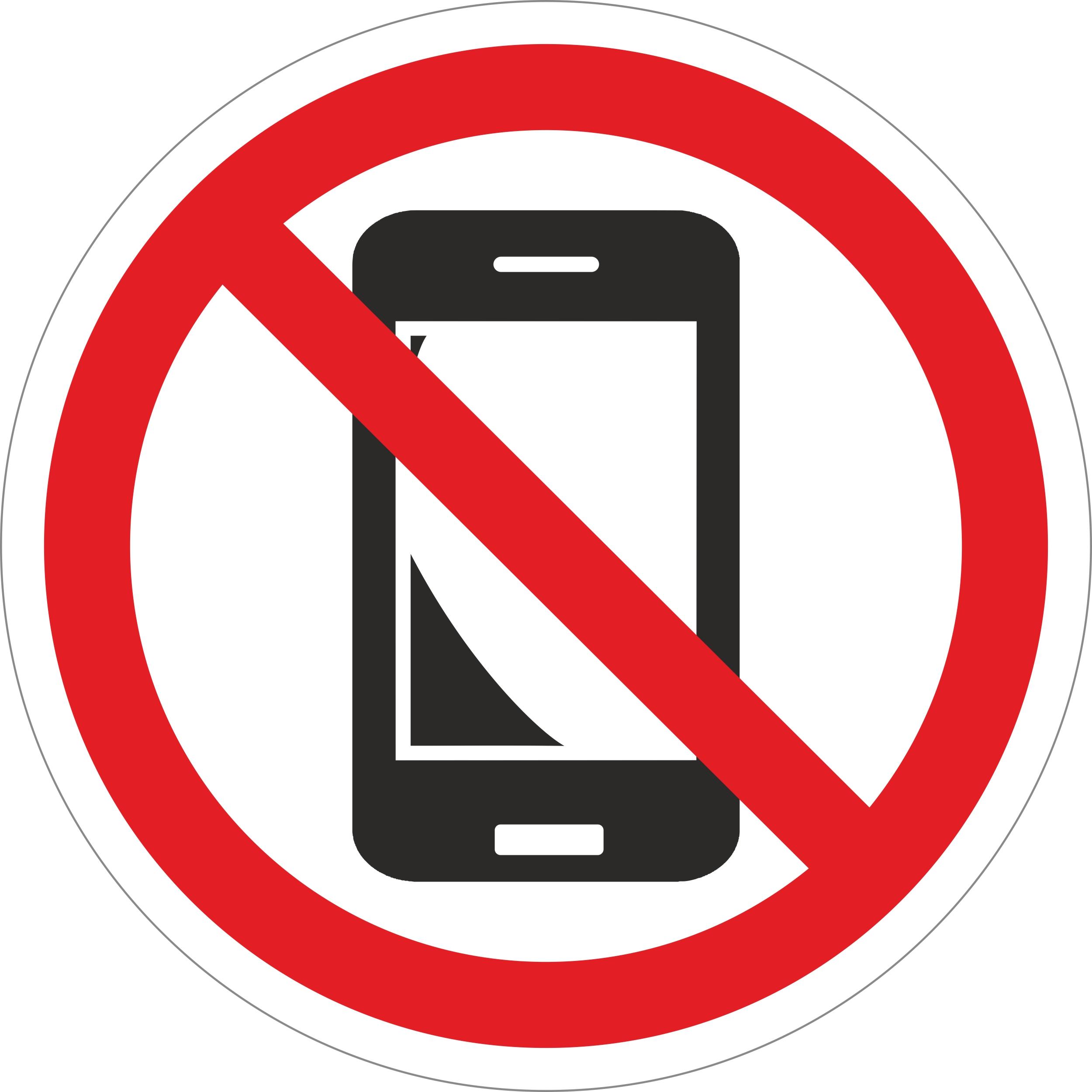 Handys verboten Ø 100 mm Warn- Hinweis- und Verbotsschild Hart-PVC, selbstklebend  – Bild 1