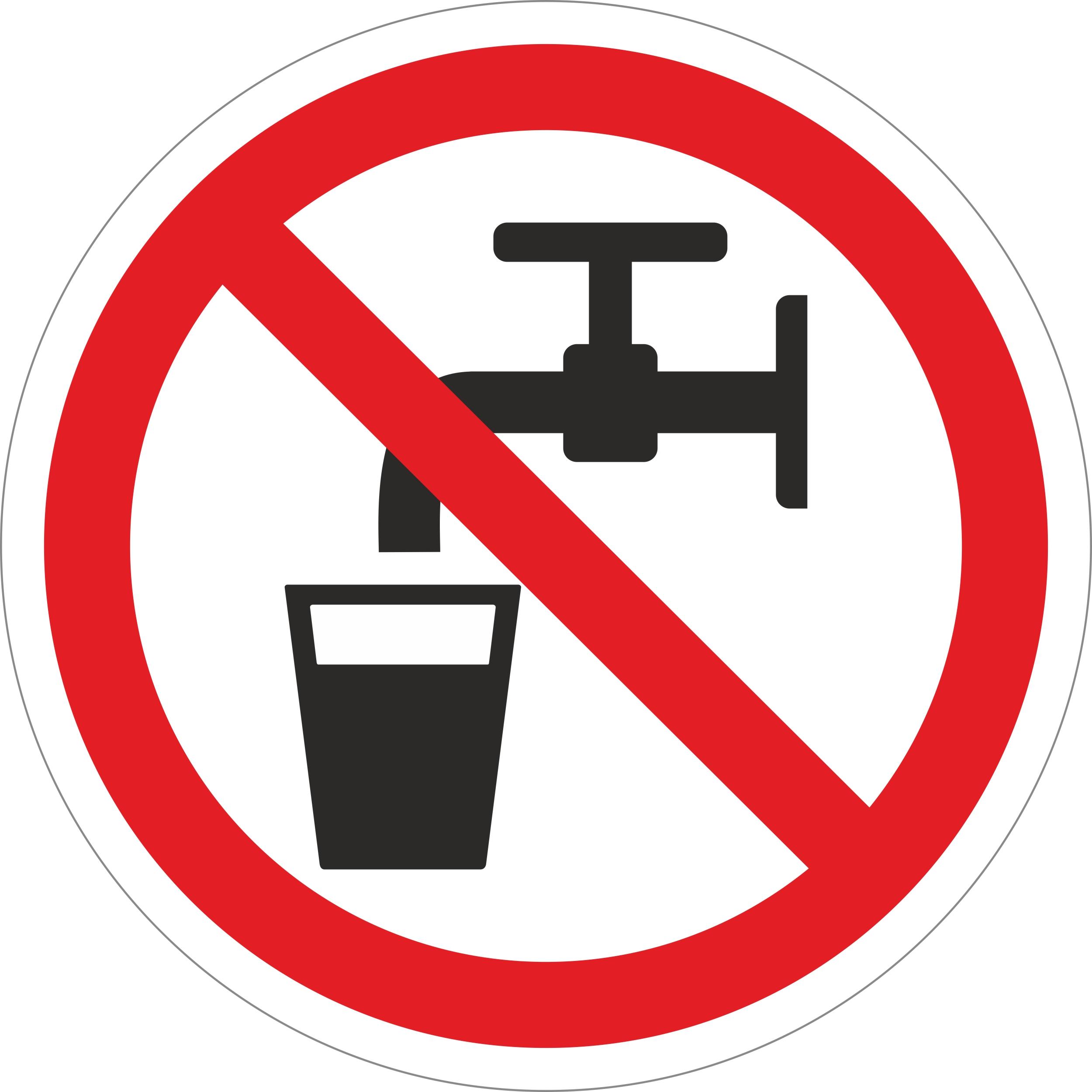 Kein trinkwasser Ø 100 mm Warn- Hinweis- und Verbotsschild Hart-PVC, selbstklebend  – Bild 1
