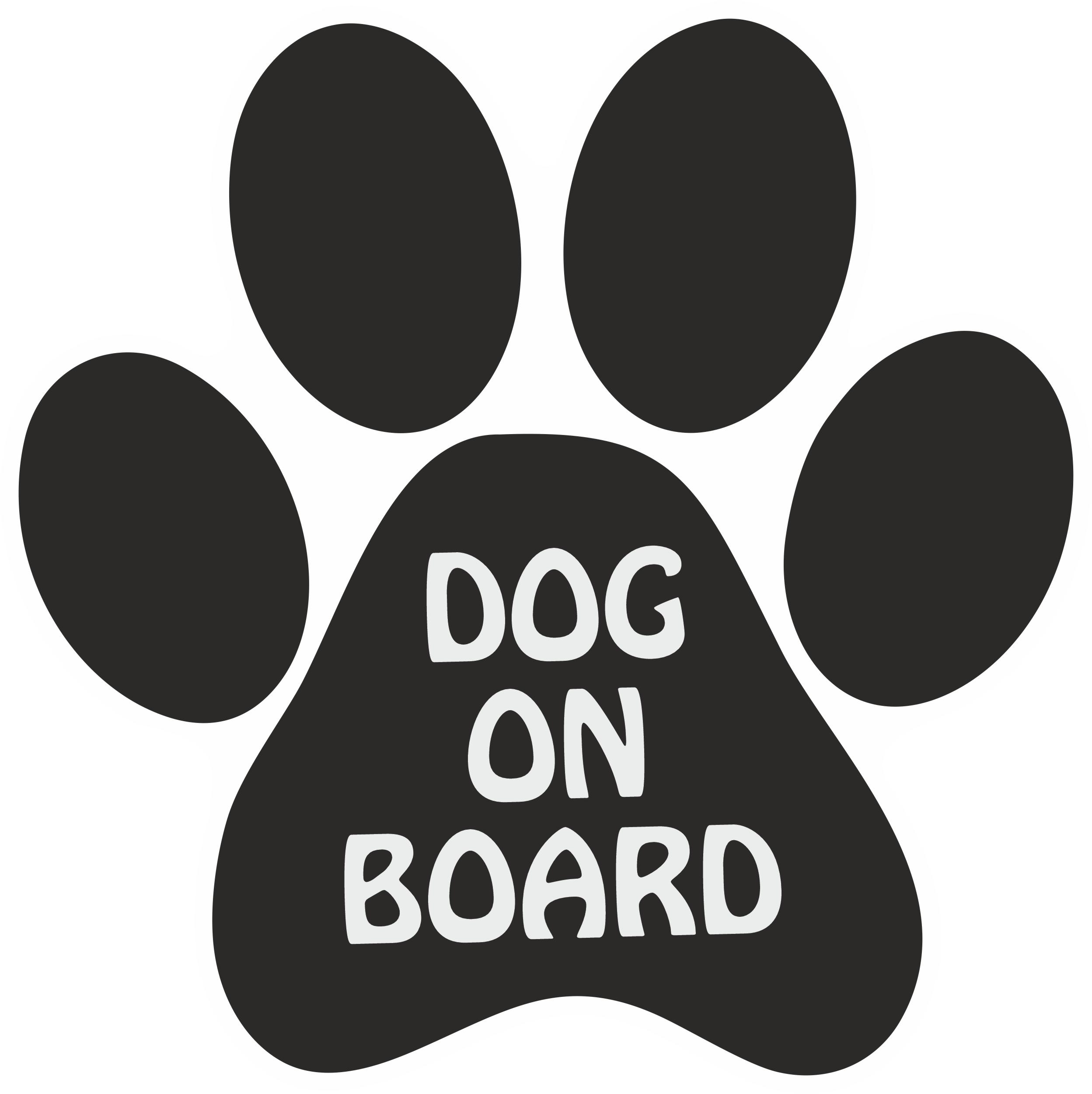 """Aufkleber Pfote """" Dog on Board"""" schwarz 158 x 116 mm   001"""