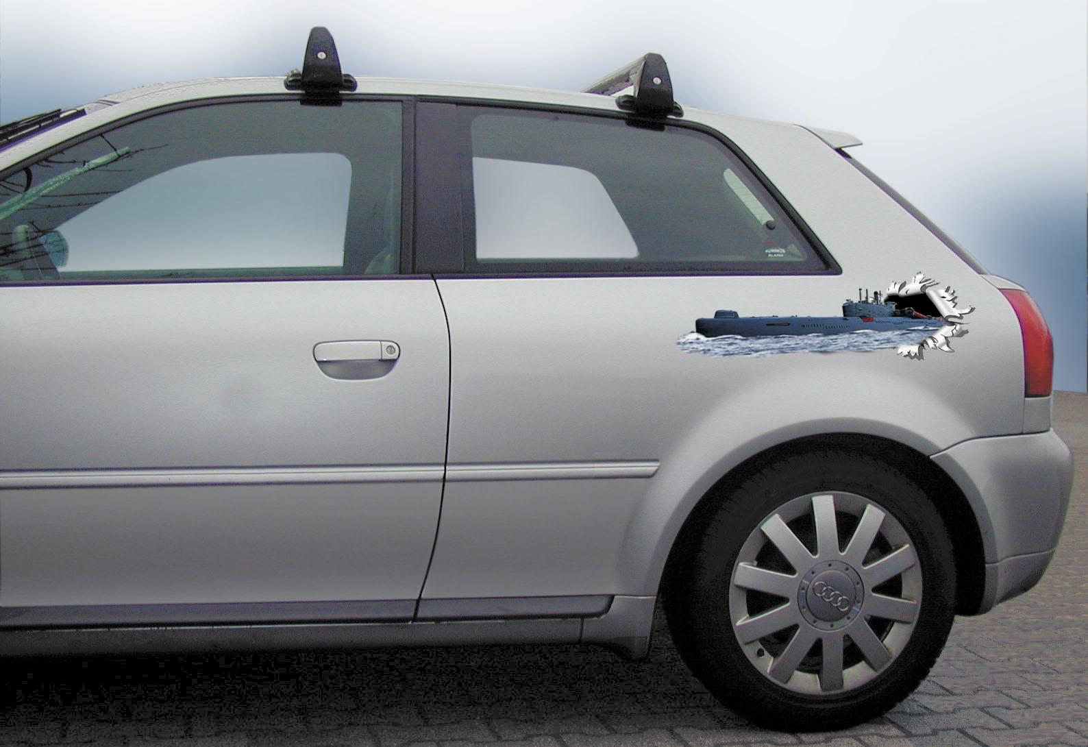 Autocollant trou point d'impact 2-ensemble Droit/grauche 180 x 580 mm motif Sous-marin – Bild 1