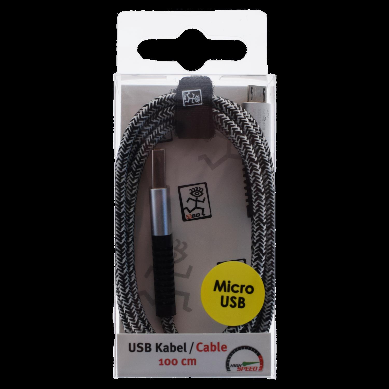 2GO USB Datacable USB-silver / Micro-USB, 1 m – Bild 2