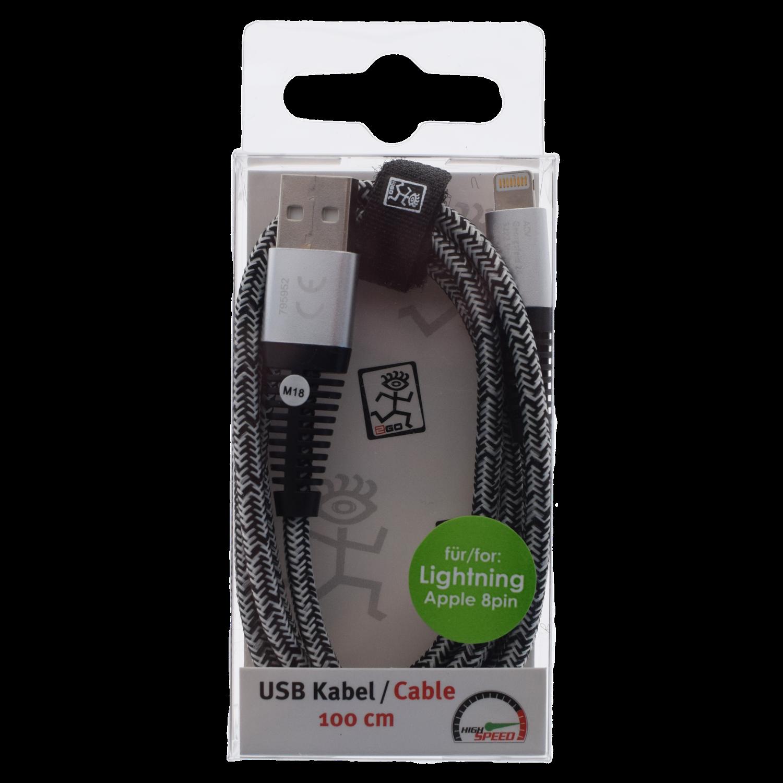 2GO USB Datacable USB-silver / Lightning Appel 8pin 1 m – Bild 2