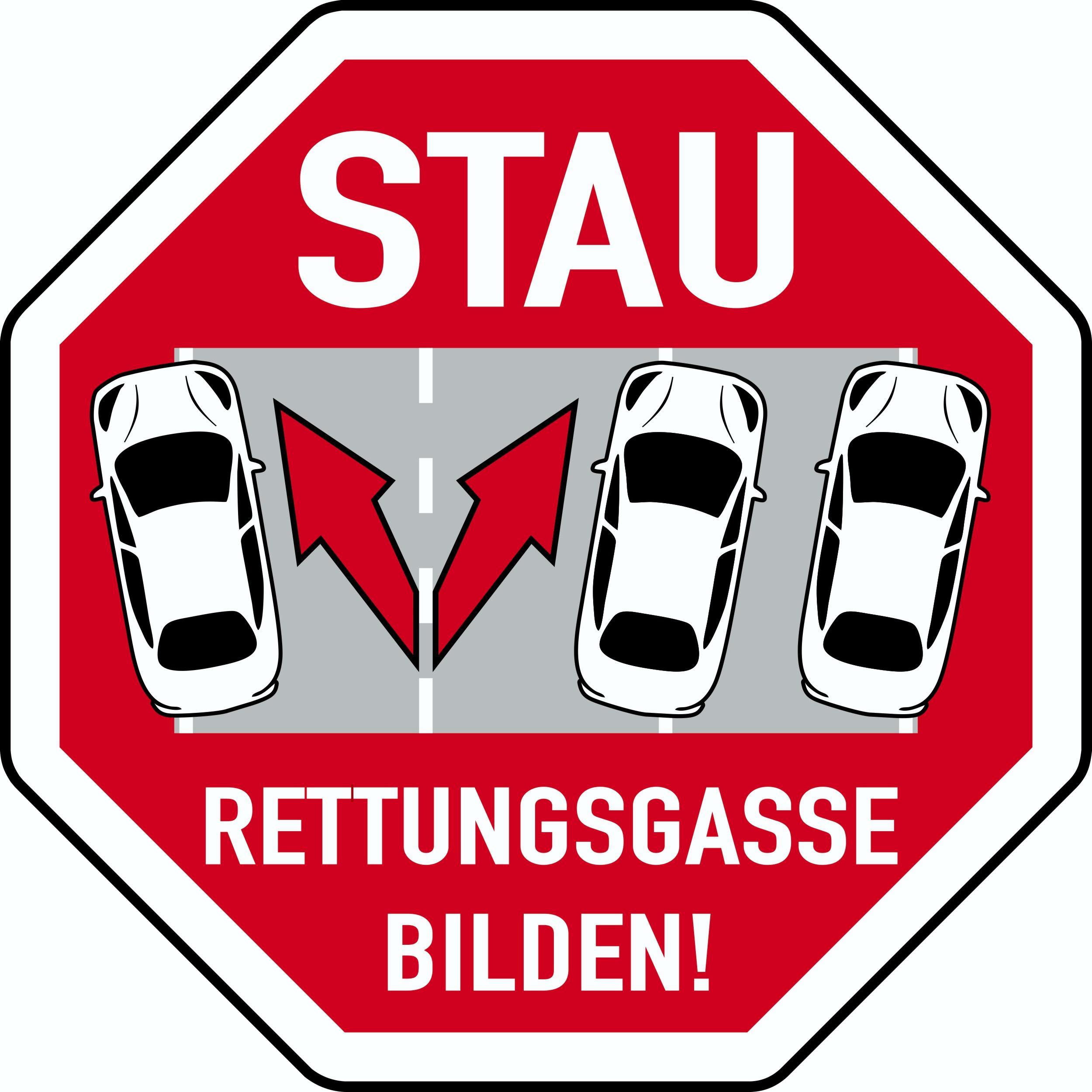 Sticker Rettungsgasse bilden 80 x 80 mm – Bild 1