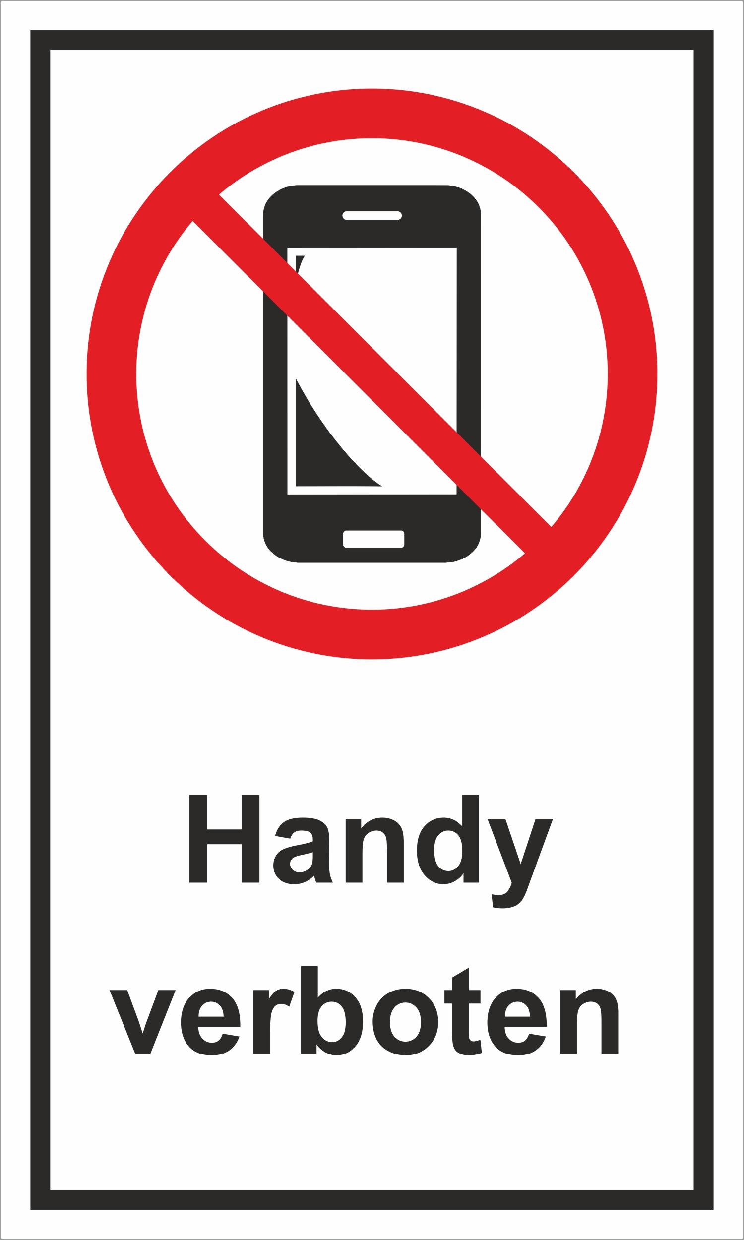 Handy verboten 150 x 250 mm Warn- Hinweis- und Verbotsschild  PST-Kunststoff – Bild 1