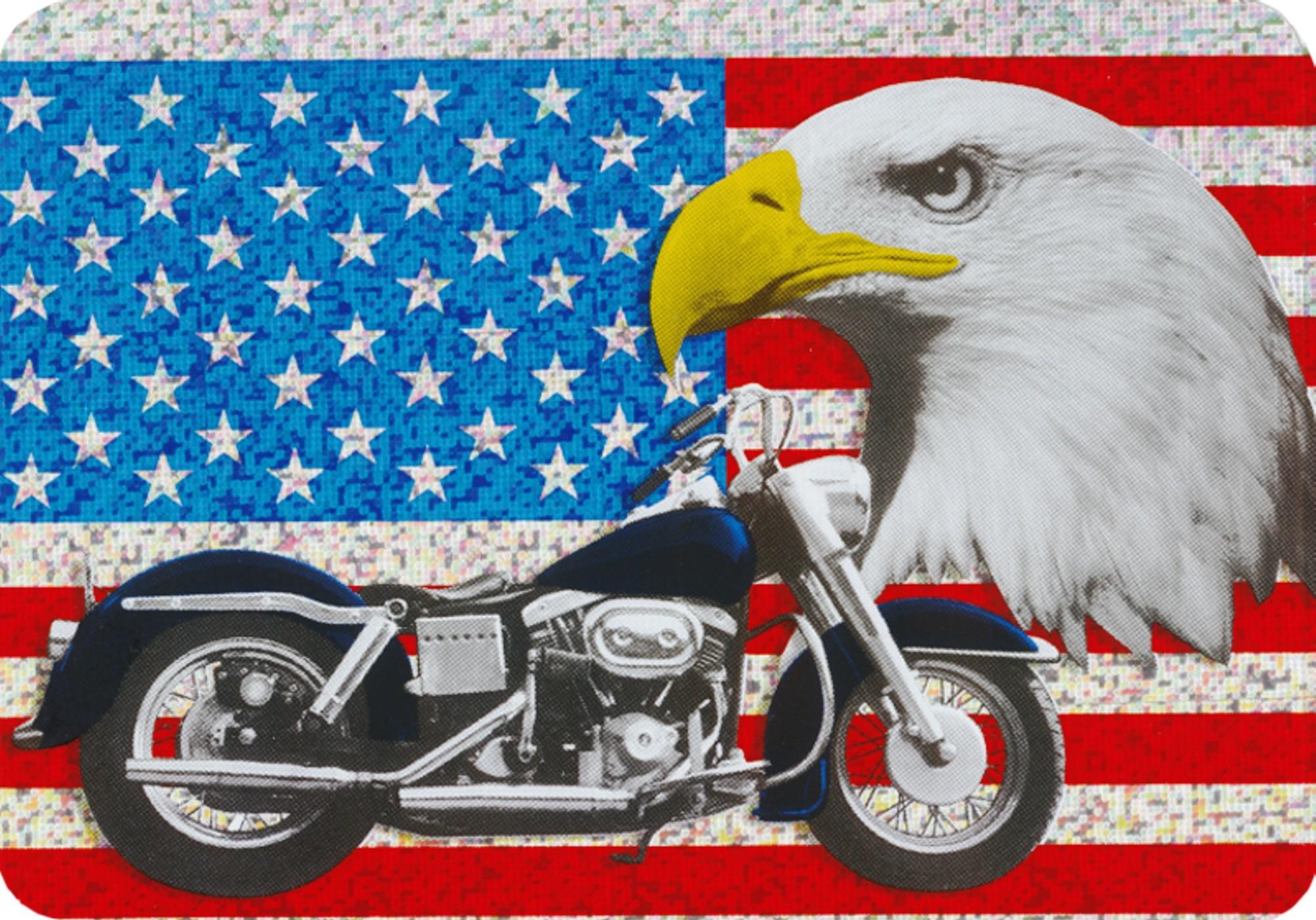 Aufkleber US-Flagge/Motorrad Holografie 150 x 110 mm – Bild 1