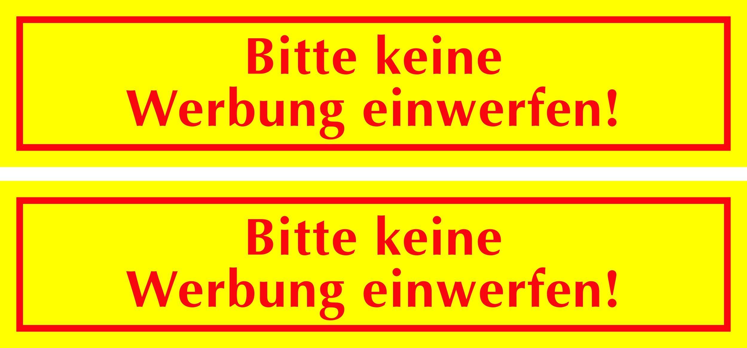 Aufkleber Bitte keine Werbung einwerfen gelb 2er-Set