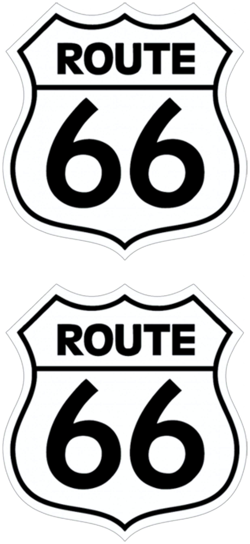Aufkleber Route 66 2er-Set weiß 130 x 70  mm – Bild 1