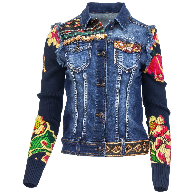 Desigual Damen Jeansjacke Jeans Jacke Used Waschung Strick ...