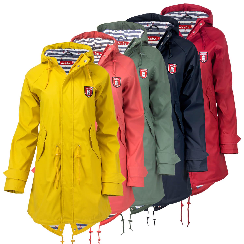 Details zu Derbe Damen Regenmantel Regen Mantel Jacke Travel Friese Friesennerz mit Kapuze