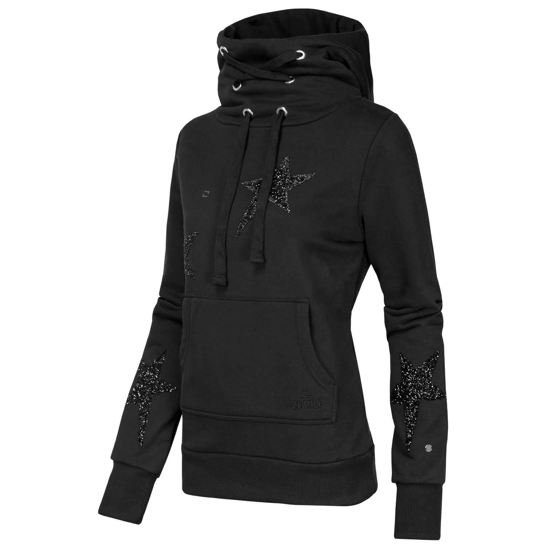 Details zu ZHRILL Damen Sweatshirt Sweater Hoodie Pullover Kapuze Kängurutasche Sterne