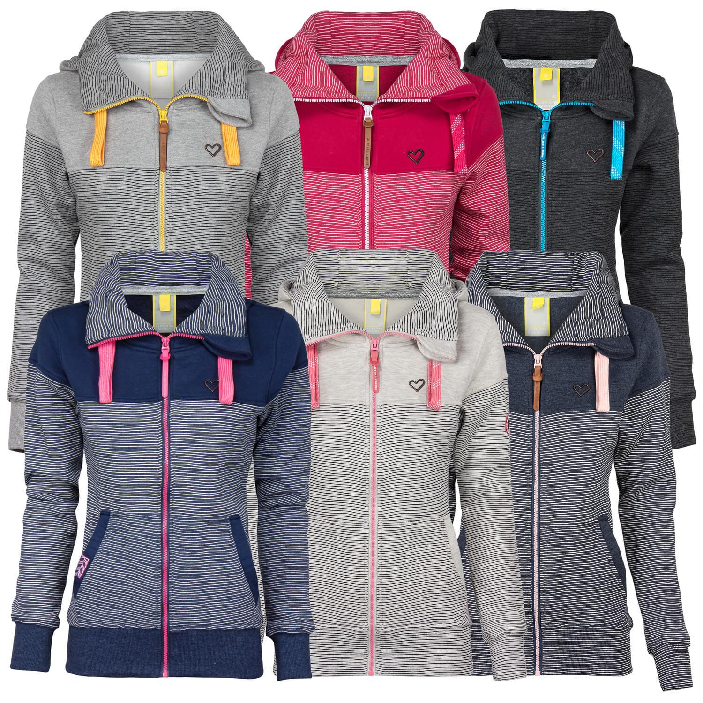 Details zu ALIFE AND KICKIN Damen Sweatjacke Sweater mit Kapuze Kängurutasche Streifen