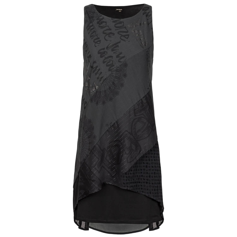 details zu desigual damen träger kleid kleine schwarze mandala print  asymmetrischer schnitt