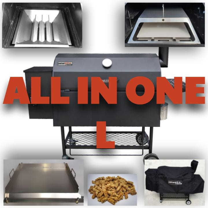 [Paket] ALL in ONE Kombi: Pelletsmoker L + Cover + V2A Rost + PIZZA + PLANCHA + 15 kg Pellets (Profi Pelletgrill Smoker Holzpelletsmoker Holzpelletgrill)