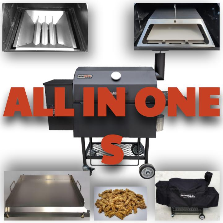 [Paket] ALL in ONE Kombi: Pelletsmoker S + Cover + V2A Rost + PIZZA + PLANCHA + 15 kg Pellets (Profi Pelletgrill Smoker Holzpelletsmoker Holzpelletgrill)