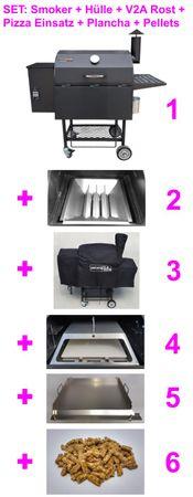 Kombi: Pelletsmoker S + Cover + V2A Rost + PIZZA + PLANCHA + 15 kg Pellets (Profi Pelletgrill Smoker Holzpelletsmoker Holzpelletgrill)