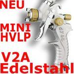 MINI HVLP Lackierpistole Spritzpistole 0,8mm V2A PROFI GOLD 001