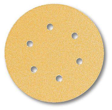 Schleifscheiben 150mm Gold Klett P180 6-fach gelocht 100 Stück