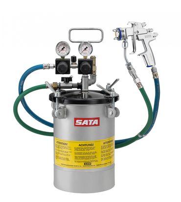 SATA paint set 10, Wasserlackausführung, Doppeldruckminderer, mit SATAjet 3000 K RP Düse 1,1, Farbzulaufrohr, Materialfilter 60 msh, Schlauchpaar 9x9 l.W. 6m mit Überzugsgeflecht – Bild 1