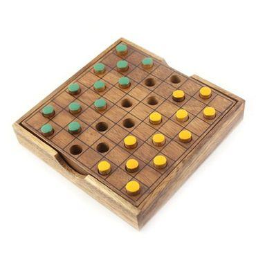 Taschen Dame, Pocket Dame - Checkers Holz Puzzle Knobel IQ-Spiel – Bild 1