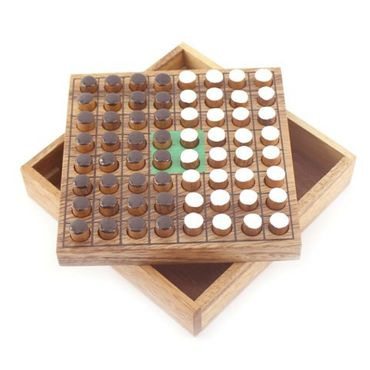 Taschen Pocket Othello  (Reversi) Holz Puzzle Knobel IQ-Spiel – Bild 1