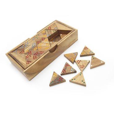 Dreiecks-Domino, Tridomino Holz Puzzle Knobel IQ-Spiel
