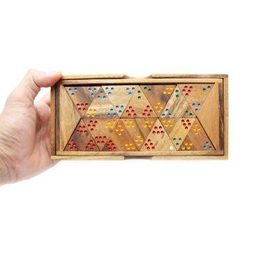 Dreiecks-Domino, Tridomino Holz Puzzle Knobel IQ-Spiel – Bild 4