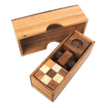 3 Puzzlespiele Würfel in einer Holzbox Holz Puzzle Knobel IQ-Spiel – Bild 1
