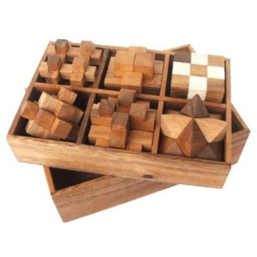 6 Puzzlespiele Würfel in einer Holzbox Holz Puzzle Knobel IQ-Spiel