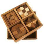4 Puzzlespiele Würfel in einer Holzbox Holz Puzzle Knobel IQ-Spiel 001