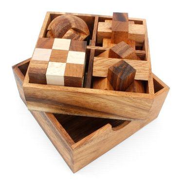 4 Puzzlespiele Würfel in einer Holzbox Holz Puzzle Knobel IQ-Spiel – Bild 1