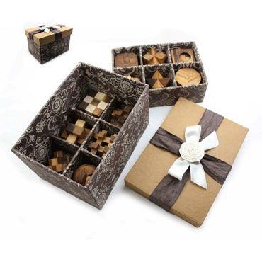 12 Puzzlespiele Würfel in einer Geschenkebox Holz Puzzle Knobel IQ-Spiel – Bild 1