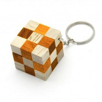 Mini Schlangenwürfel Orange mit Schlüsselanhänger Holz Puzzle Knobel IQ-Spiel