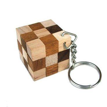 Mini Schlangenwürfel Braun mit Schlüsselanhänger Holz Puzzle Knobel IQ-Spiel