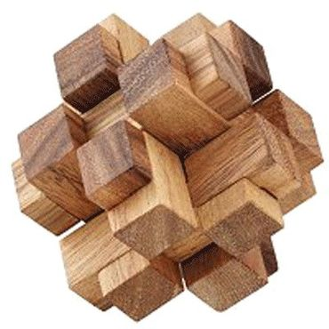 Mini Teufelsknoten 3D Karo Würfel - 3D Squares Holz Puzzle Knobel IQ-Spiel – Bild 1