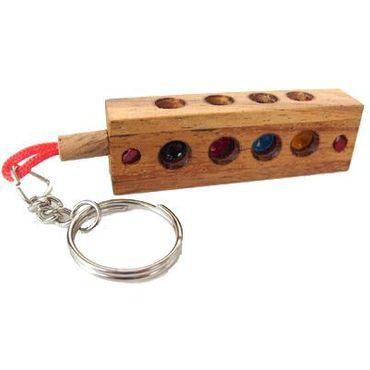 Mini Verrückte Vier - Crazy Four Schlüsselanhänger Holz Puzzle Knobel IQ-Spiel