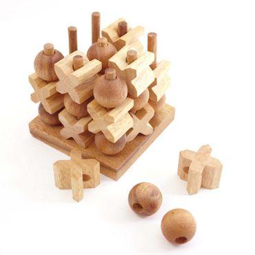 3D Tik-Tak-Toe Holz Puzzle Knobel IQ-Spiel – Bild 1
