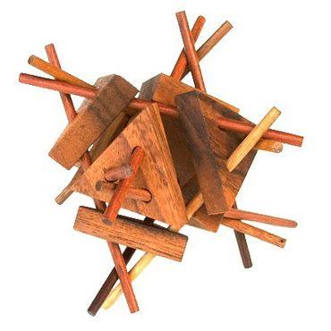 Stäbchen Stern Gebilde Holz Puzzle Knobel IQ-Spiel