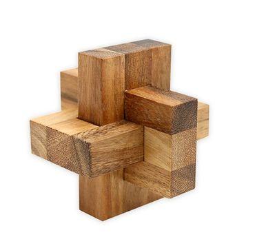 X Hexenknoten 3-teilig Puzzle  Würfel Holz Puzzle Knobel IQ-Spiel