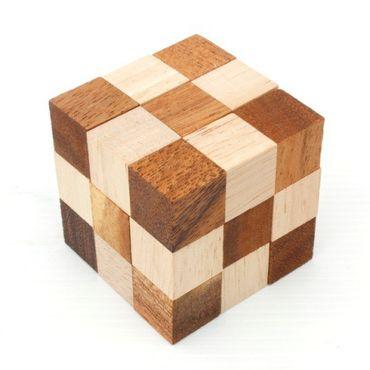 X Schlangen Würfel - Snake Cube Holz Puzzle Knobel IQ-Spiel – Bild 1