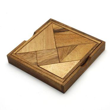 X Pocket Taschen Tangram 7-teilig Legespiel Holz Puzzle Knobel IQ-Spiel – Bild 1
