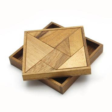 X Pocket Taschen Tangram 7-teilig Legespiel Holz Puzzle Knobel IQ-Spiel – Bild 3