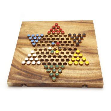 X Klapp Halma - Folding Checkers groß Holz Puzzle Knobel IQ-Spiel – Bild 1